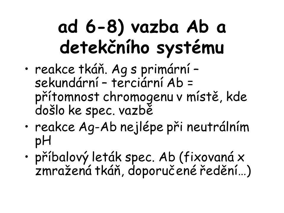 ad 6-8) vazba Ab a detekčního systému reakce tkáň. Ag s primární – sekundární – terciární Ab = přítomnost chromogenu v místě, kde došlo ke spec. vazbě