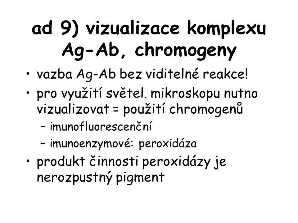 ad 9) vizualizace komplexu Ag-Ab, chromogeny vazba Ag-Ab bez viditelné reakce! pro využití světel. mikroskopu nutno vizualizovat = použití chromogenů