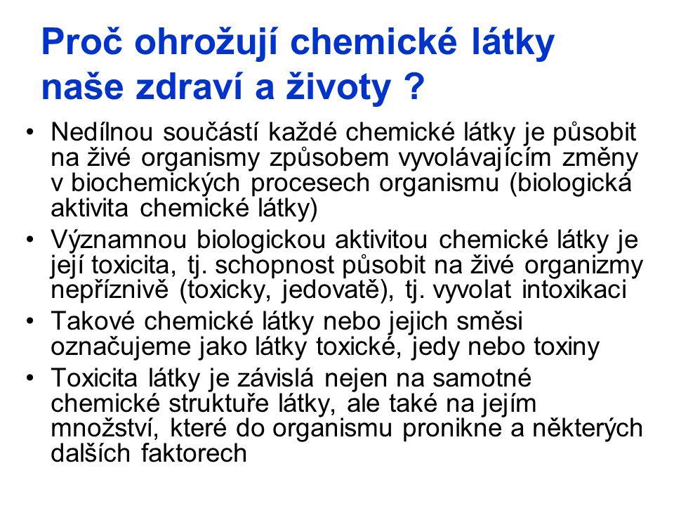 Proč ohrožují chemické látky naše zdraví a životy ? Nedílnou součástí každé chemické látky je působit na živé organismy způsobem vyvolávajícím změny v