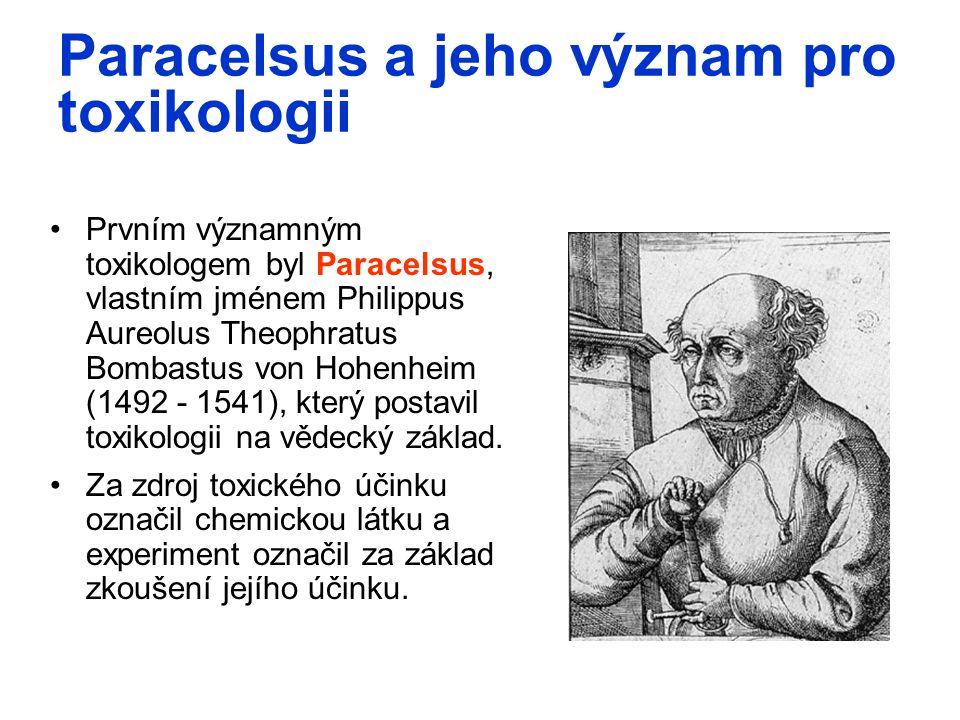 Paracelsus a jeho význam pro toxikologii Prvním významným toxikologem byl Paracelsus, vlastním jménem Philippus Aureolus Theophratus Bombastus von Hoh
