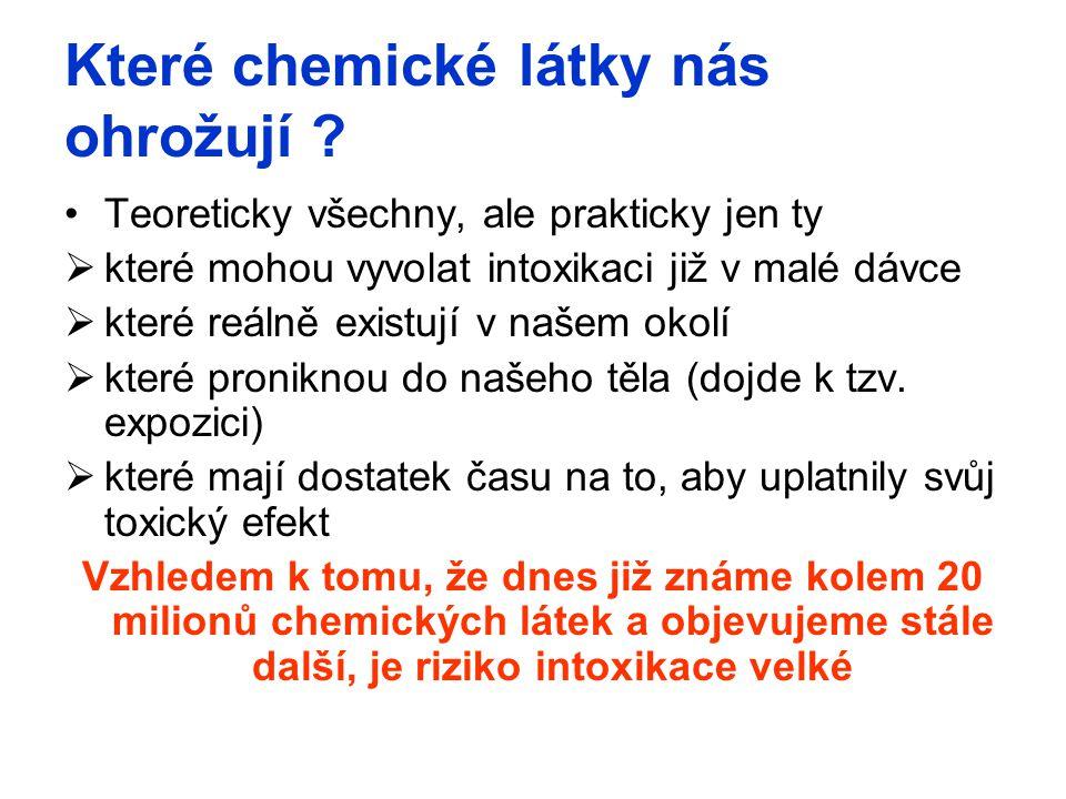 Které chemické látky nás ohrožují ? Teoreticky všechny, ale prakticky jen ty  které mohou vyvolat intoxikaci již v malé dávce  které reálně existují