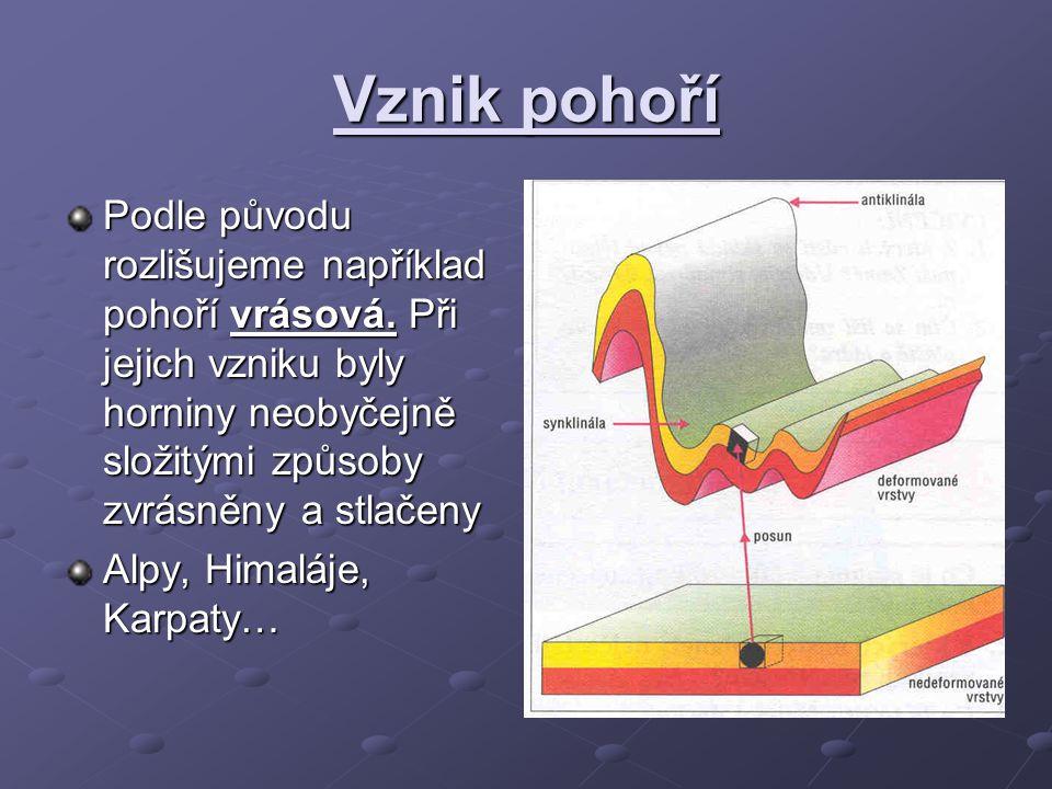 Vznik pohoří Podle původu rozlišujeme například pohoří vrásová. Při jejich vzniku byly horniny neobyčejně složitými způsoby zvrásněny a stlačeny Alpy,