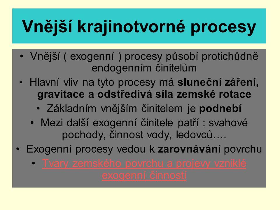 Vnější krajinotvorné procesy Vnější ( exogenní ) procesy působí protichůdně endogenním činitelům Hlavní vliv na tyto procesy má sluneční záření, gravi