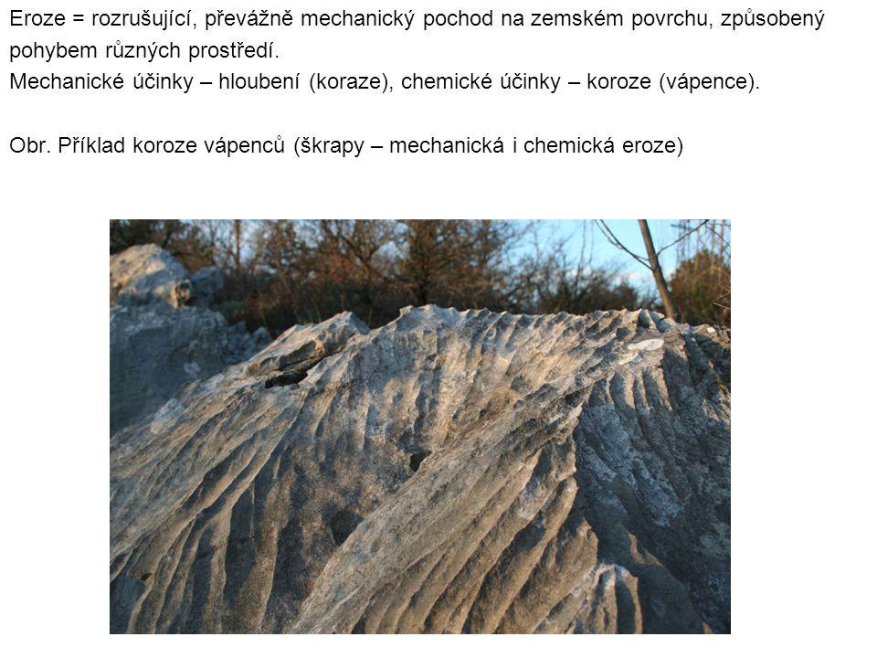 Eroze = rozrušující, převážně mechanický pochod na zemském povrchu, způsobený pohybem různých prostředí. Mechanické účinky – hloubení (koraze), chemic