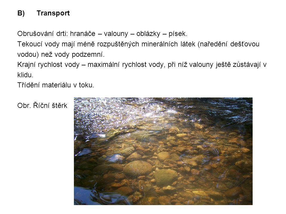 B)Transport Obrušování drti: hranáče – valouny – oblázky – písek. Tekoucí vody mají méně rozpuštěných minerálních látek (naředění dešťovou vodou) než