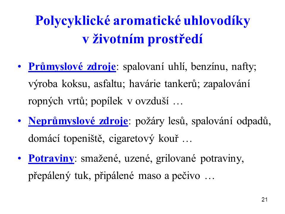 21 Polycyklické aromatické uhlovodíky v životním prostředí Průmyslové zdroje: spalovaní uhlí, benzínu, nafty; výroba koksu, asfaltu; havárie tankerů;