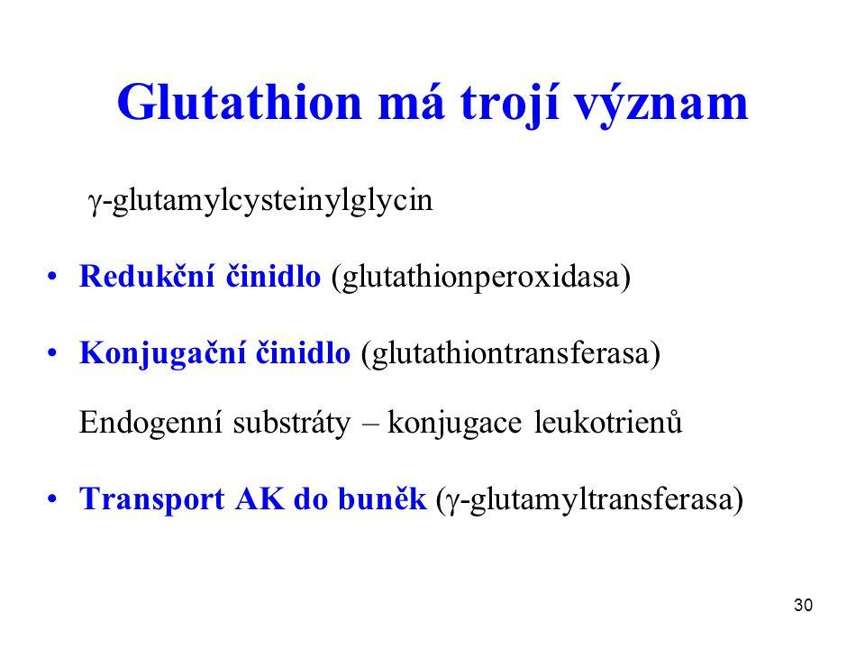 30 Glutathion má trojí význam  -glutamylcysteinylglycin Redukční činidlo (glutathionperoxidasa) Konjugační činidlo (glutathiontransferasa) Endogenní