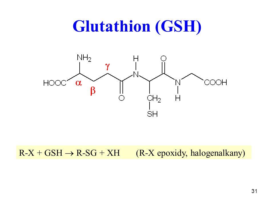 31 Glutathion (GSH) R-X + GSH  R-SG + XH (R-X epoxidy, halogenalkany)