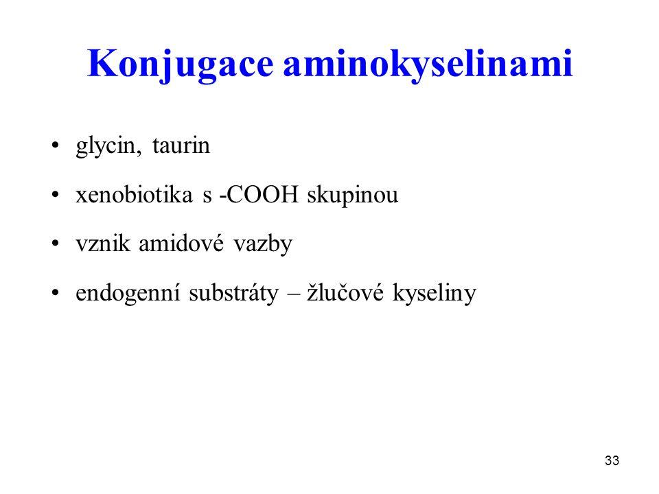 33 Konjugace aminokyselinami glycin, taurin xenobiotika s -COOH skupinou vznik amidové vazby endogenní substráty – žlučové kyseliny