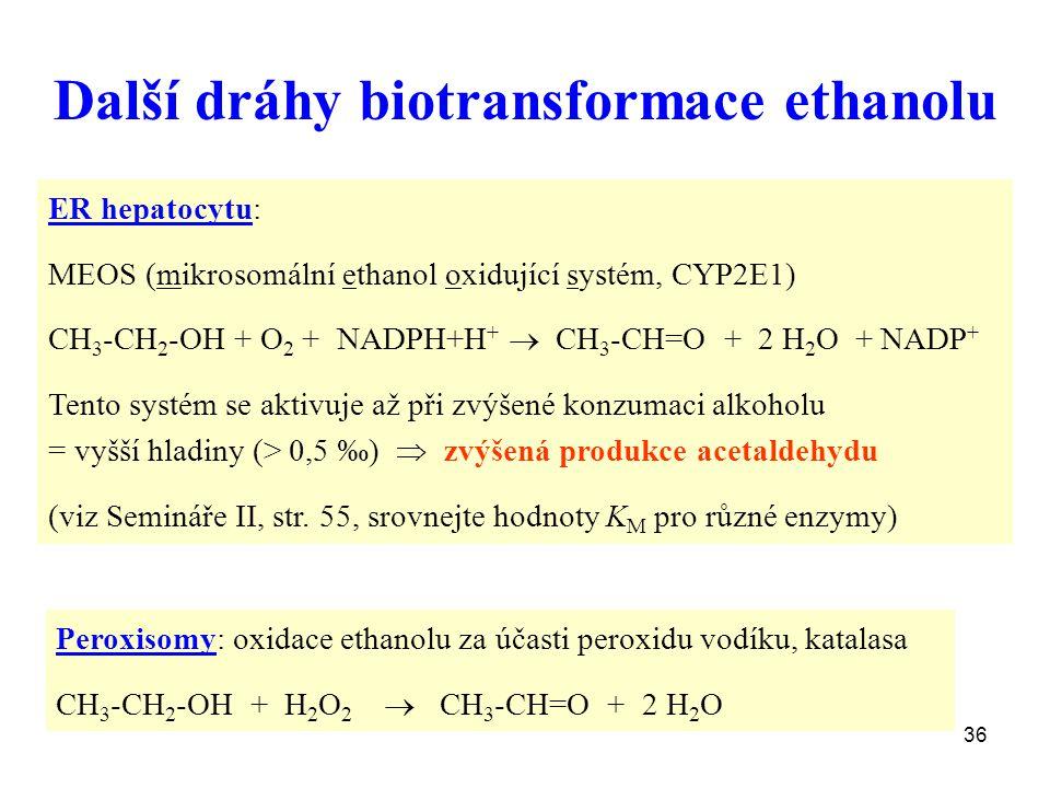 36 Další dráhy biotransformace ethanolu ER hepatocytu: MEOS (mikrosomální ethanol oxidující systém, CYP2E1) CH 3 -CH 2 -OH + O 2 + NADPH+H +  CH 3 -C