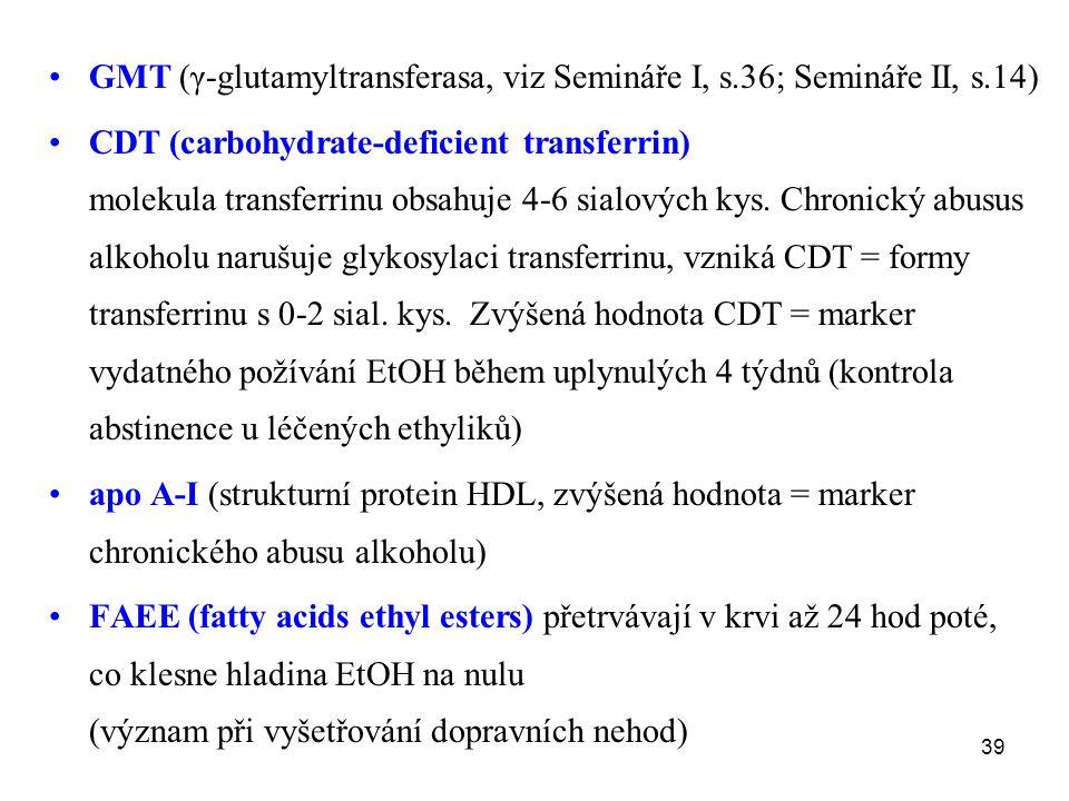 39 GMT (γ-glutamyltransferasa, viz Semináře I, s.36; Semináře II, s.14) CDT (carbohydrate-deficient transferrin) molekula transferrinu obsahuje 4-6 si