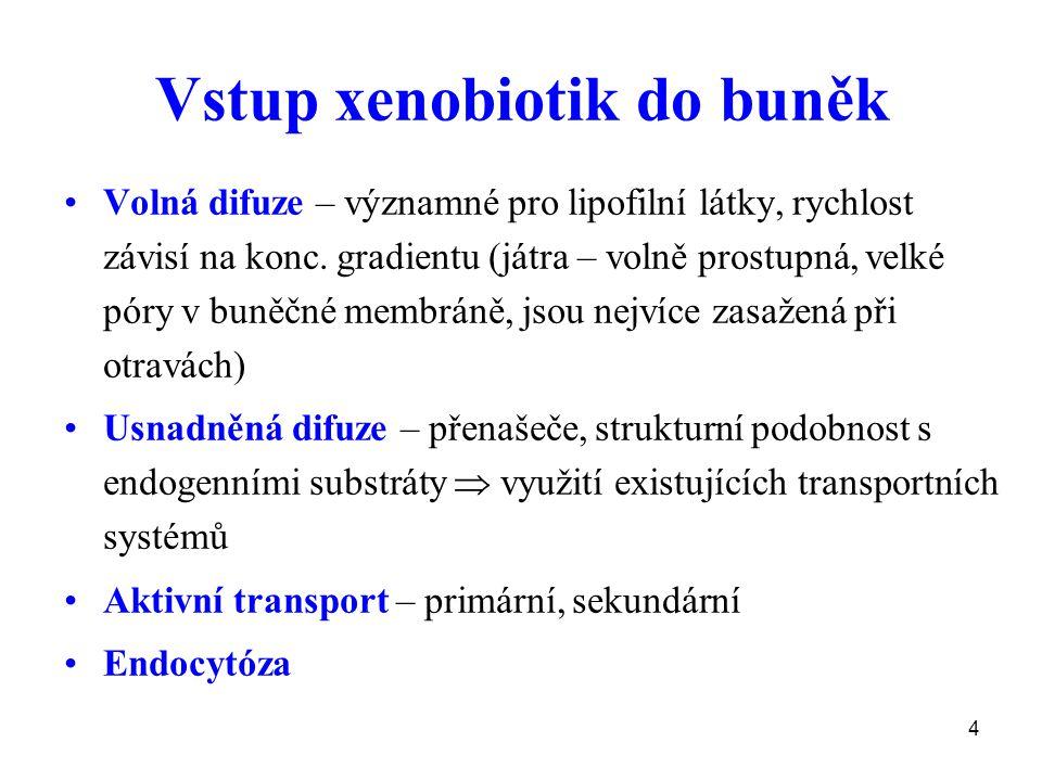 4 Vstup xenobiotik do buněk Volná difuze – významné pro lipofilní látky, rychlost závisí na konc. gradientu (játra – volně prostupná, velké póry v bun