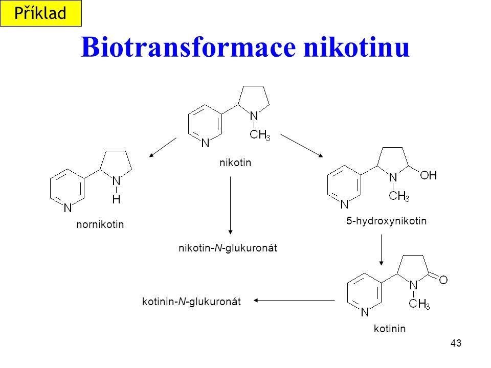 43 Biotransformace nikotinu nikotin nornikotin 5-hydroxynikotin kotinin nikotin-N-glukuronát kotinin-N-glukuronát Příklad