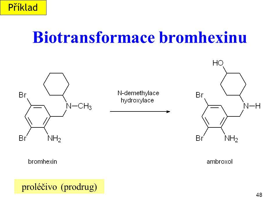 48 Biotransformace bromhexinu proléčivo (prodrug) Příklad