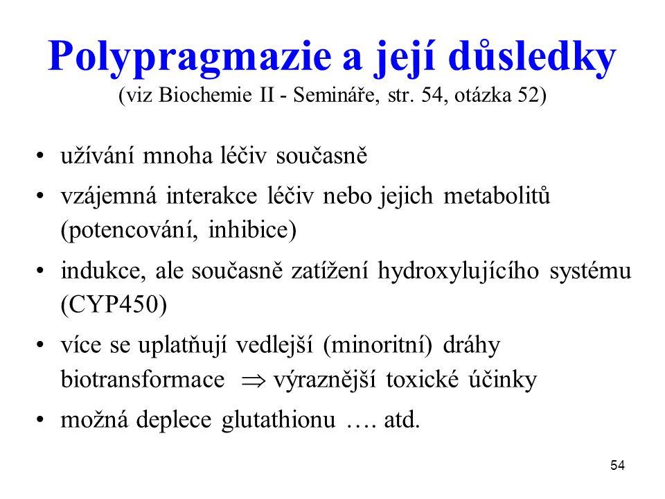 54 Polypragmazie a její důsledky (viz Biochemie II - Semináře, str. 54, otázka 52) užívání mnoha léčiv současně vzájemná interakce léčiv nebo jejich m