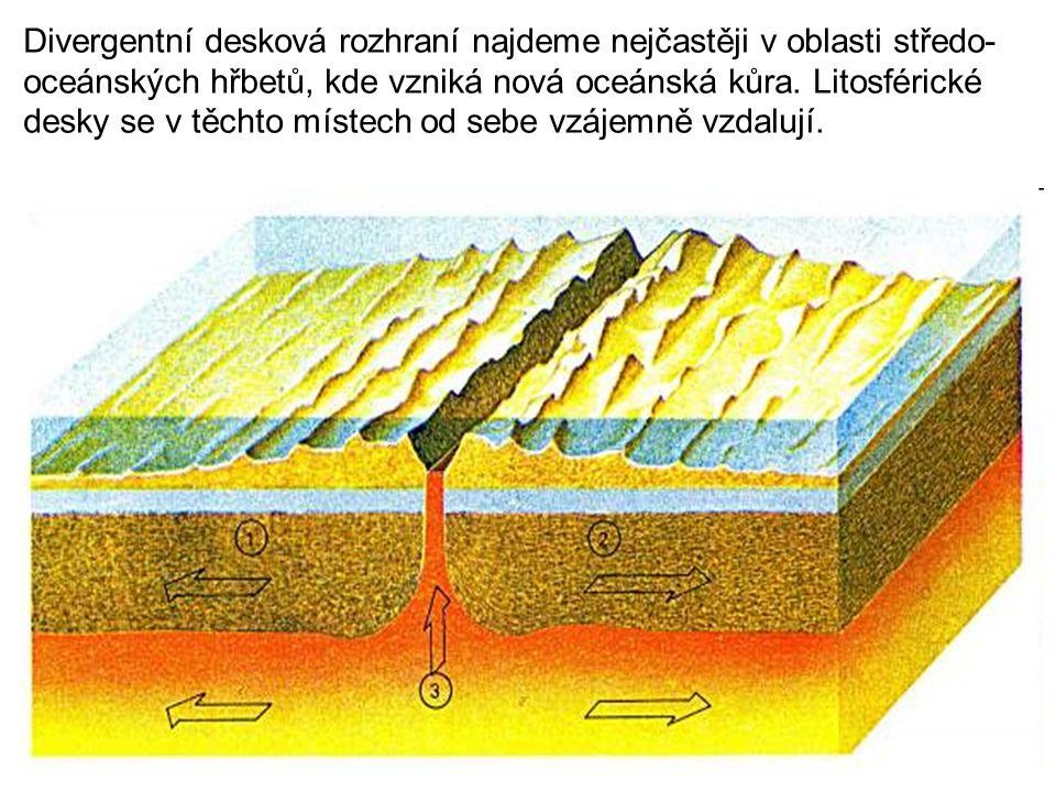 Divergentní desková rozhraní najdeme nejčastěji v oblasti středo- oceánských hřbetů, kde vzniká nová oceánská kůra. Litosférické desky se v těchto mís