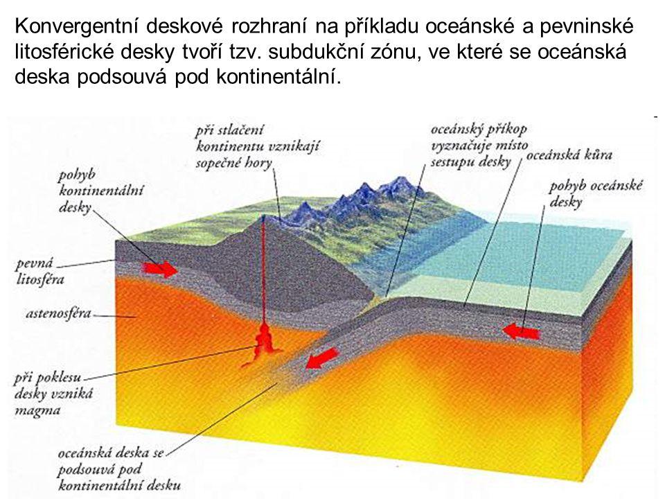 Konvergentní deskové rozhraní na příkladu oceánské a pevninské litosférické desky tvoří tzv. subdukční zónu, ve které se oceánská deska podsouvá pod k