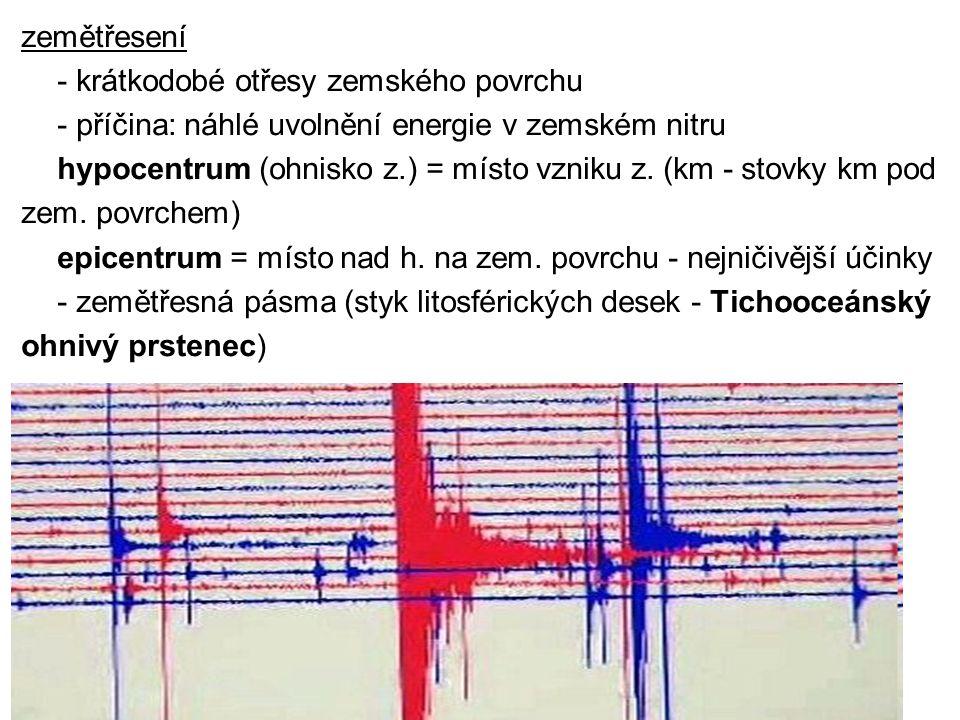 zemětřesení - krátkodobé otřesy zemského povrchu - příčina: náhlé uvolnění energie v zemském nitru hypocentrum (ohnisko z.) = místo vzniku z. (km - st