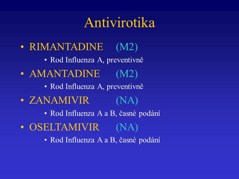 Antivirotika RIMANTADINE (M2) Rod Influenza A, preventivně AMANTADINE (M2) Rod Influenza A, preventivně ZANAMIVIR (NA) Rod Influenza A a B, časné podá