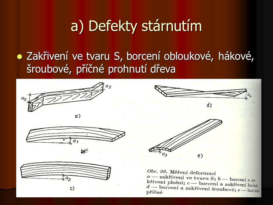a) Defekty stárnutím Zakřivení ve tvaru S, borcení obloukové, hákové, šroubové, příčné prohnutí dřeva Zakřivení ve tvaru S, borcení obloukové, hákové,