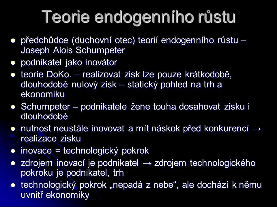 Teorie endogenního růstu nedostatek Solowova modelu – technologický pokrok je exogenní veličinou nedostatek Solowova modelu – technologický pokrok je exogenní veličinou Solowův model vysvětluje hlavní příčinu růstu (technologický pokrok), ale nevysvětluje, co je zdrojem technologického pokroku Solowův model vysvětluje hlavní příčinu růstu (technologický pokrok), ale nevysvětluje, co je zdrojem technologického pokroku snaha o endogenizaci technolog.