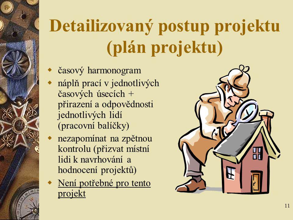 11 Detailizovaný postup projektu (plán projektu)  časový harmonogram  náplň prací v jednotlivých časových úsecích + přirazení a odpovědnosti jednotl