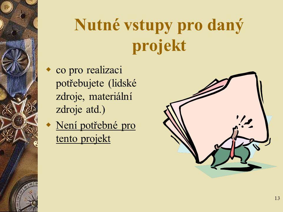 13 Nutné vstupy pro daný projekt  co pro realizaci potřebujete (lidské zdroje, materiální zdroje atd.)  Není potřebné pro tento projekt