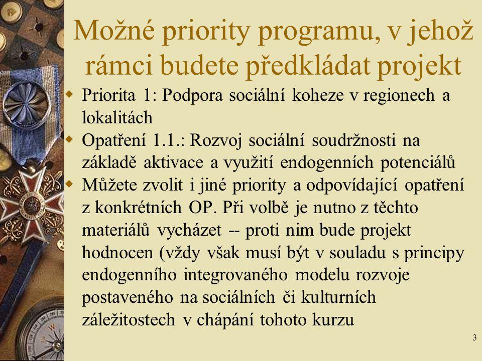 3 Možné priority programu, v jehož rámci budete předkládat projekt  Priorita 1: Podpora sociální koheze v regionech a lokalitách  Opatření 1.1.: Roz