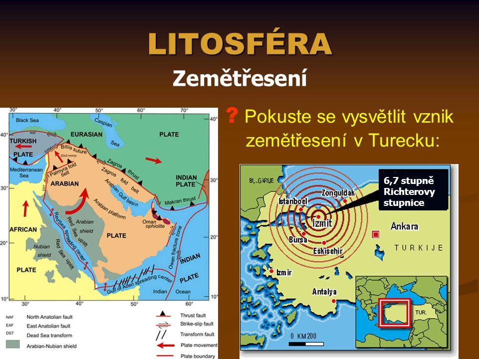 LITOSFÉRA Zemětřesení 6,7 stupně Richterovy stupnice ? Pokuste se vysvětlit vznik zemětřesení v Turecku: