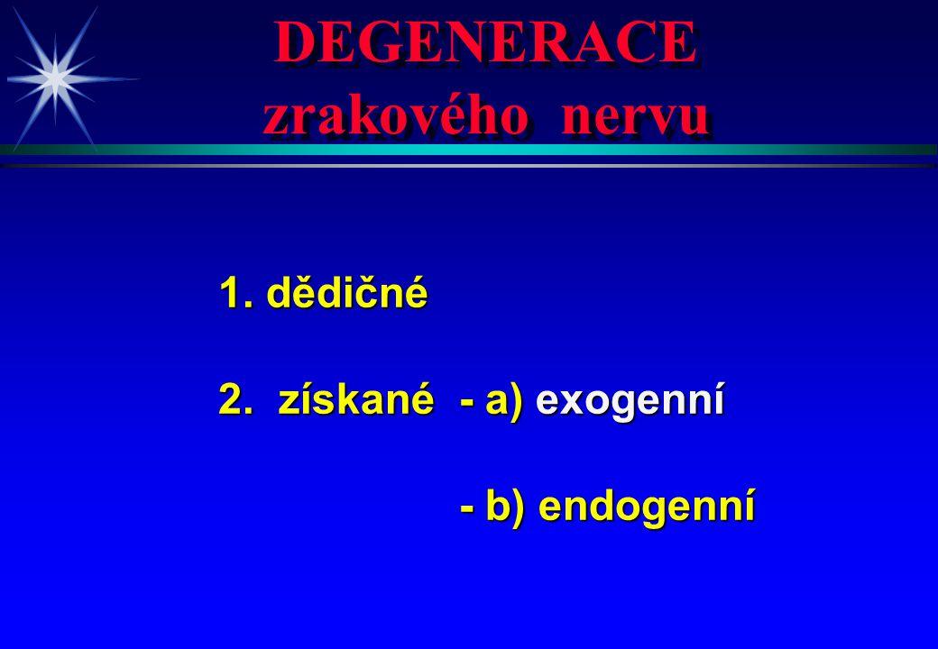 DEGENERACE zrakového nervu DEGENERACE zrakového nervu 1. dědičné 2. získané - a) exogenní - b) endogenní - b) endogenní