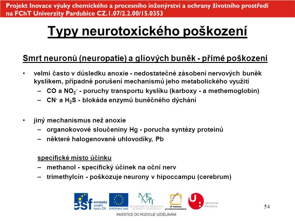 54 Smrt neuronů (neuropatie) a gliových buněk - přímé poškození velmi často v důsledku anoxie - nedostatečné zásobení nervových buněk kyslíkem, případ