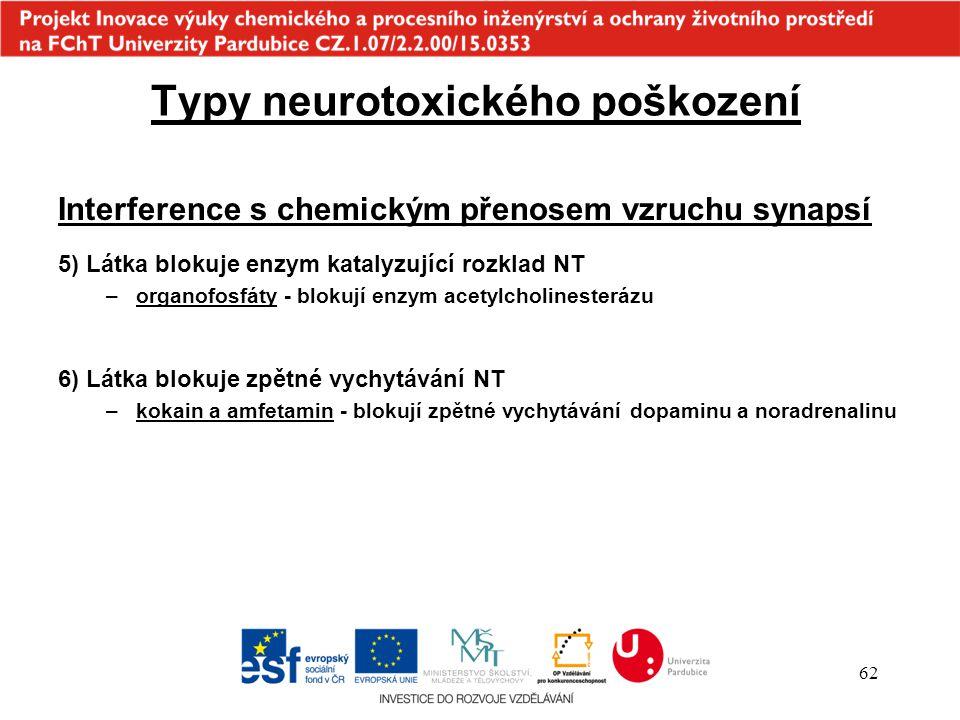 62 Typy neurotoxického poškození Interference s chemickým přenosem vzruchu synapsí 5) Látka blokuje enzym katalyzující rozklad NT –organofosfáty - blo
