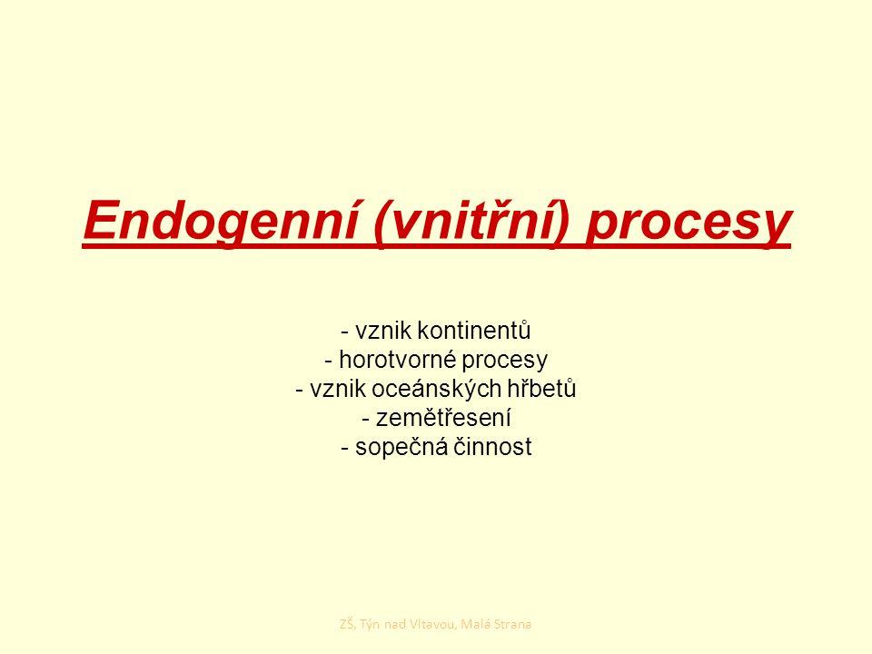 Endogenní (vnitřní) procesy - vznik kontinentů - horotvorné procesy - vznik oceánských hřbetů - zemětřesení - sopečná činnost ZŠ, Týn nad Vltavou, Mal