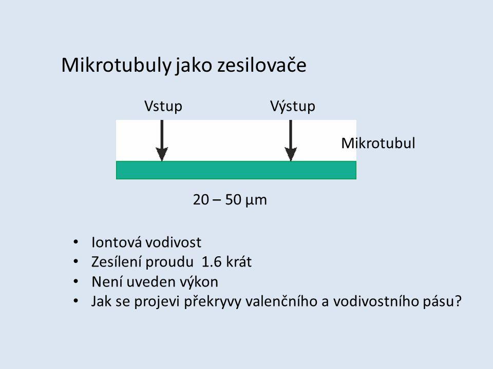 Mikrotubuly jako zesilovače Vstup Výstup 20 – 50 μm Iontová vodivost Zesílení proudu 1.6 krát Není uveden výkon Jak se projevi překryvy valenčního a v