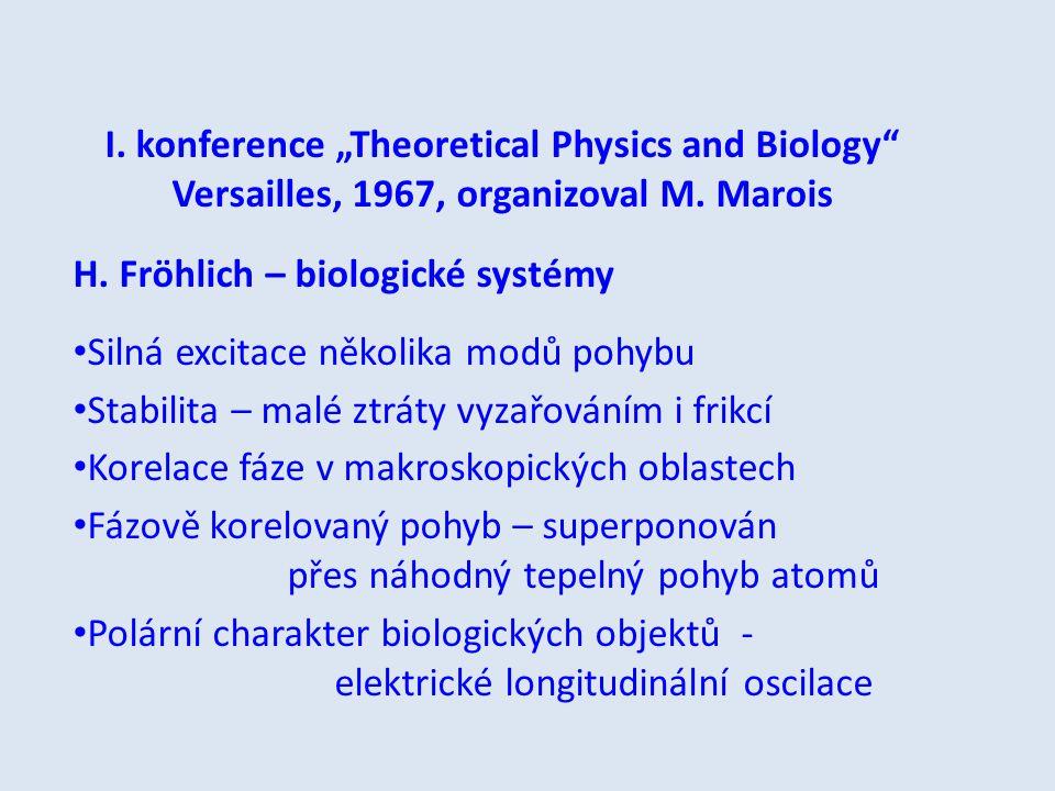 """I. konference """"Theoretical Physics and Biology"""" Versailles, 1967, organizoval M. Marois H. Fröhlich – biologické systémy Silná excitace několika modů"""