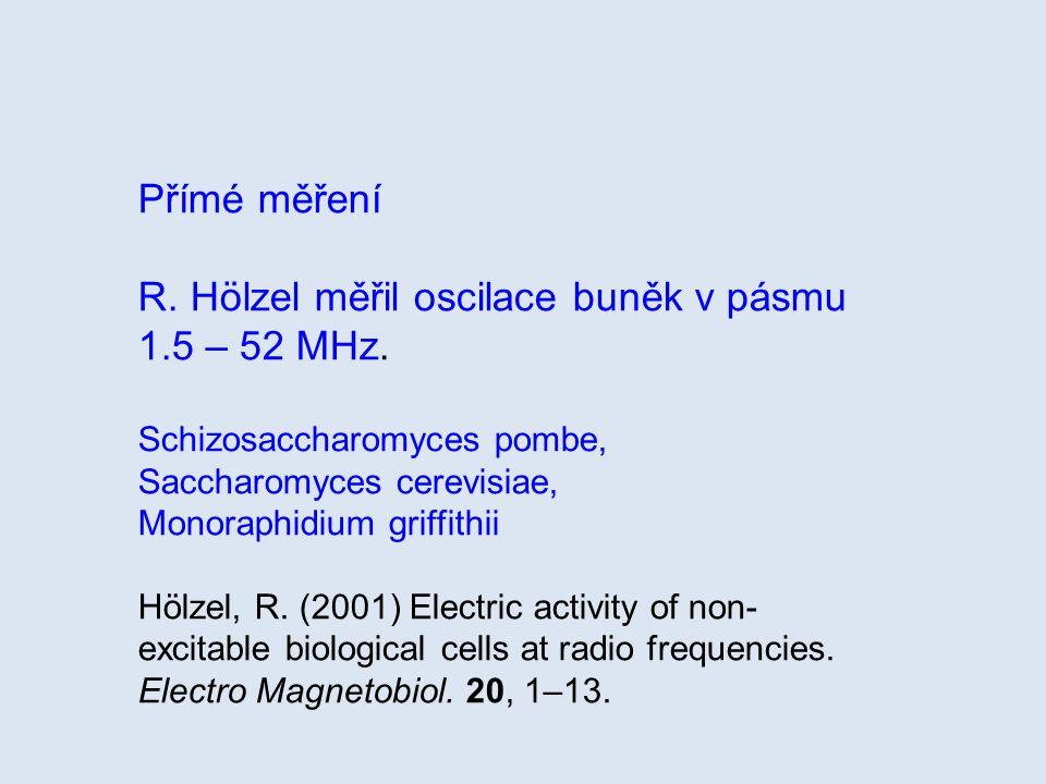 Přímé měření R. Hölzel měřil oscilace buněk v pásmu 1.5 – 52 MHz. Schizosaccharomyces pombe, Saccharomyces cerevisiae, Monoraphidium griffithii Hölzel