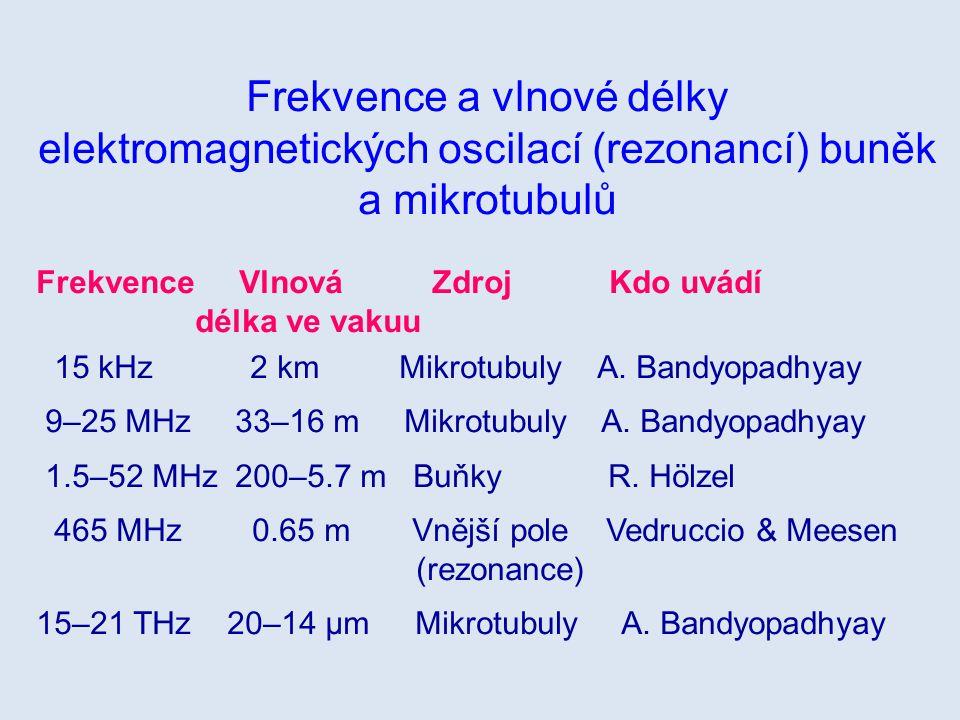 Frekvence a vlnové délky elektromagnetických oscilací (rezonancí) buněk a mikrotubulů Frekvence Vlnová Zdroj Kdo uvádí délka ve vakuu 15 kHz 2 km Mikr