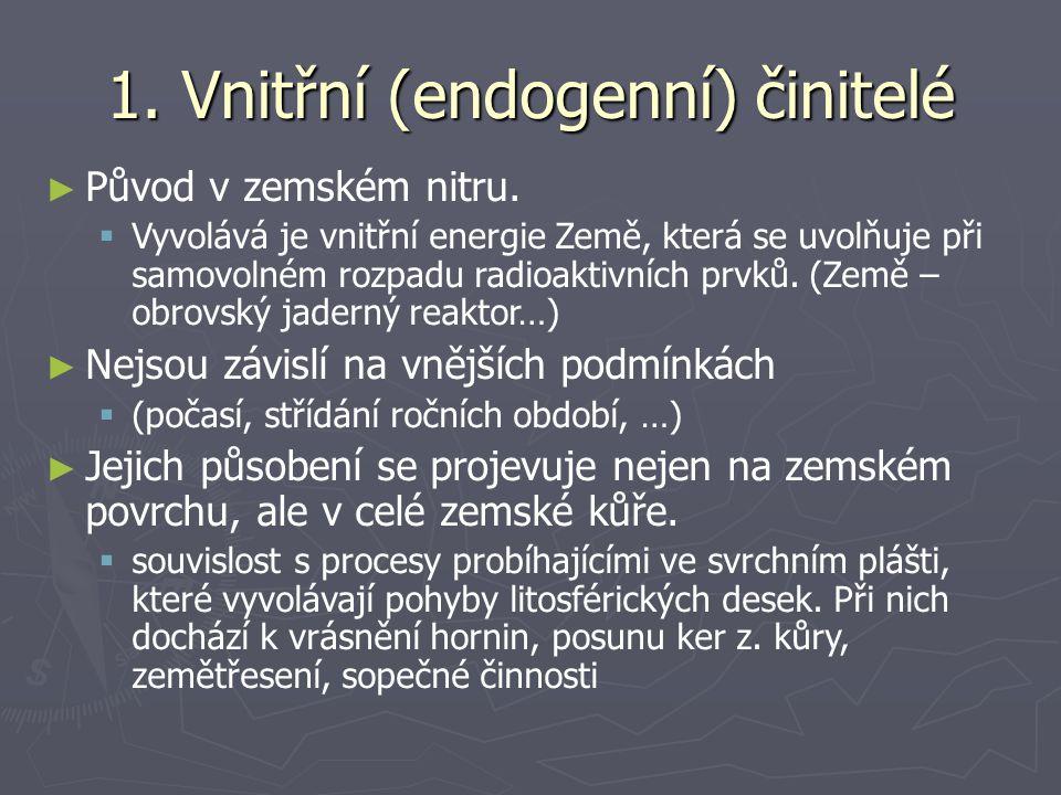 1. Vnitřní (endogenní) činitelé ► Původ v zemském nitru.