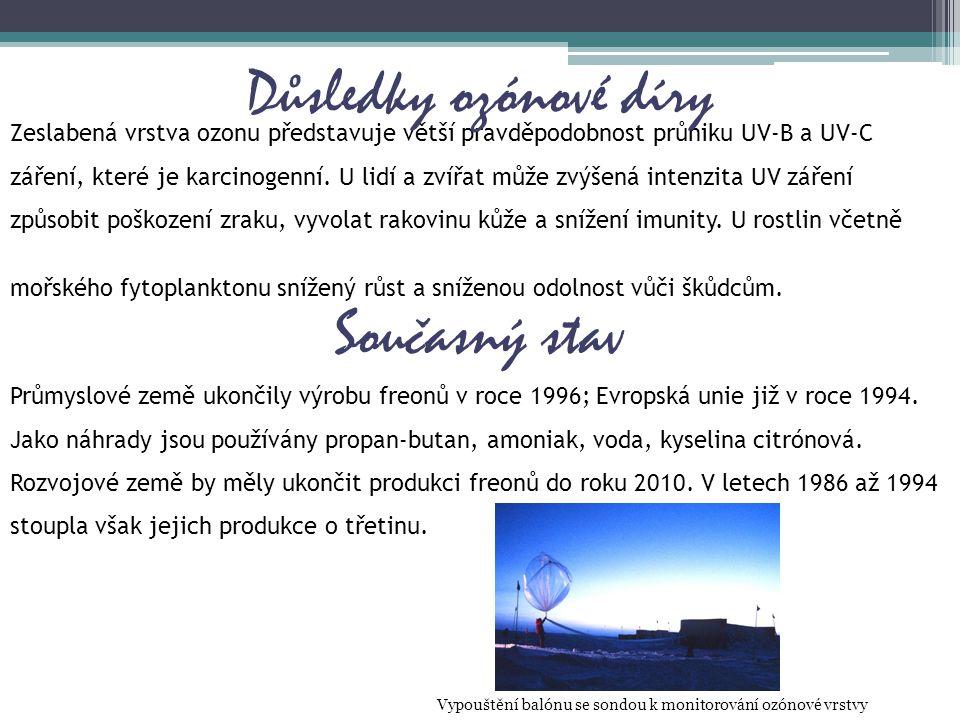 Zeslabená vrstva ozonu představuje větší pravděpodobnost průniku UV-B a UV-C záření, které je karcinogenní. U lidí a zvířat může zvýšená intenzita UV