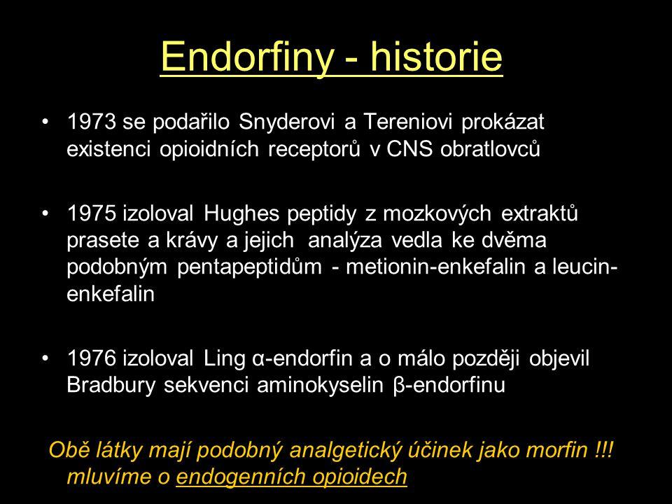 Endorfiny - historie 1973 se podařilo Snyderovi a Tereniovi prokázat existenci opioidních receptorů v CNS obratlovců 1975 izoloval Hughes peptidy z mozkových extraktů prasete a krávy a jejich analýza vedla ke dvěma podobným pentapeptidům - metionin-enkefalin a leucin- enkefalin 1976 izoloval Ling α-endorfin a o málo později objevil Bradbury sekvenci aminokyselin β-endorfinu Obě látky mají podobný analgetický účinek jako morfin !!.
