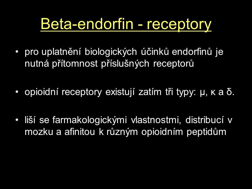 Beta-endorfin - receptory pro uplatnění biologických účinků endorfinů je nutná přítomnost příslušných receptorů opioidní receptory existují zatím tři typy: μ, κ a δ.