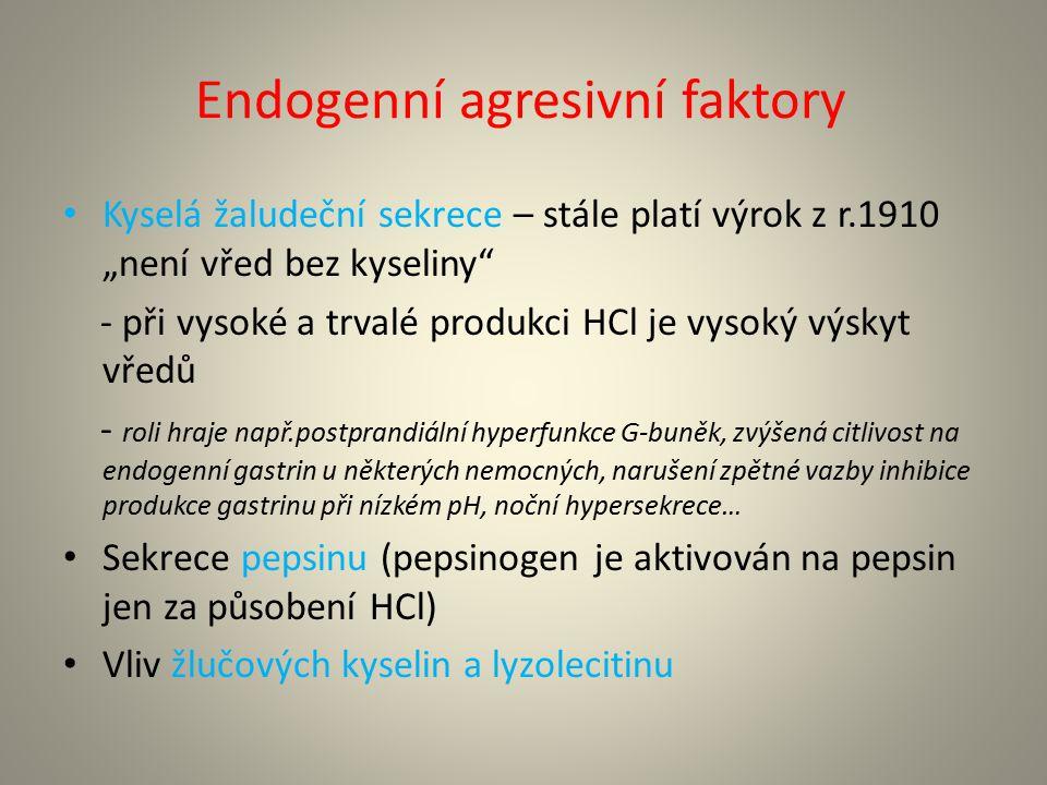 Exogenní agresivní faktory 1.Helicobacter pylori 2.Léky (kyselina acetylsalicylová, jiná nesteroidní antirevmatika – mechanismem poškození je inhibice syntézy prostaglandinů, kortikoidy, p.o.preparáty zlata) 3.Kouření 4.Potravinové faktory (alkohol zejm.