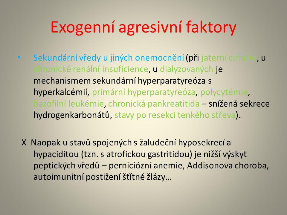 Ochranné faktory Hydrogenkarbonáty – tvoří se v žaludku, dvanáctníku a pankreatu.