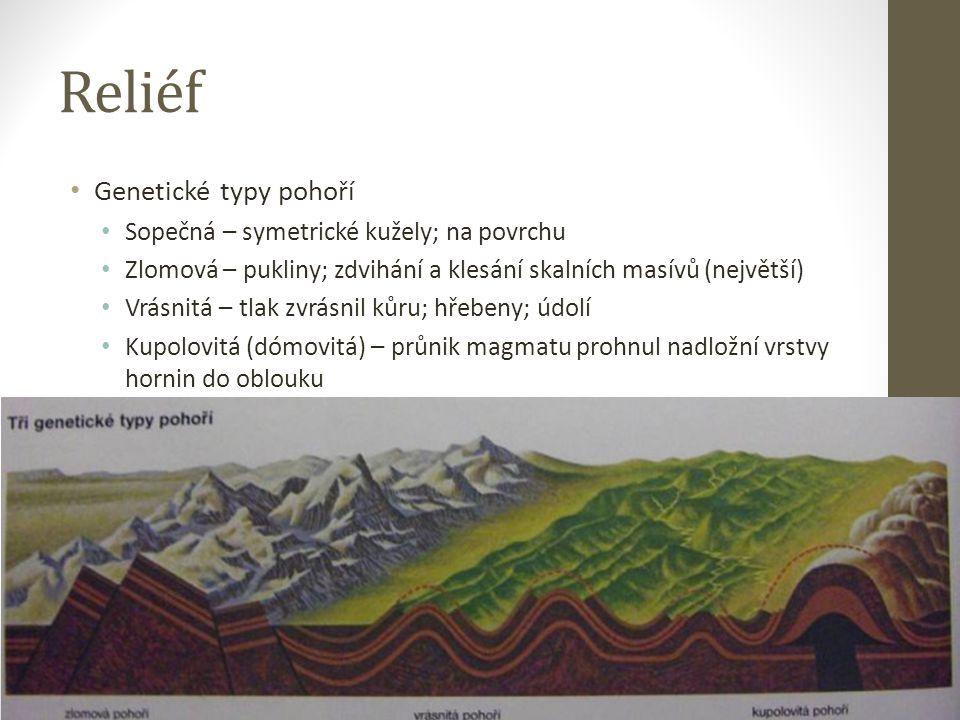 Reliéf Genetické typy pohoří Sopečná – symetrické kužely; na povrchu Zlomová – pukliny; zdvihání a klesání skalních masívů (největší) Vrásnitá – tlak