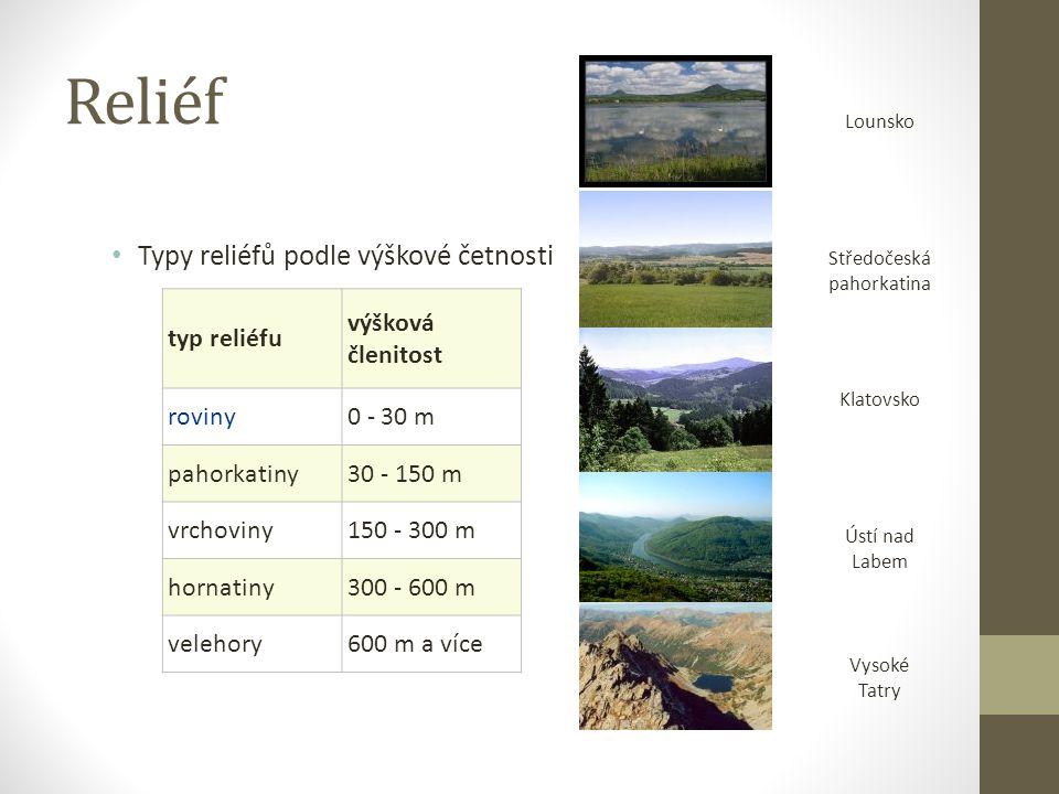 Reliéf Typy reliéfů podle výškové četnosti typ reliéfu výšková členitost roviny0 - 30 m pahorkatiny30 - 150 m vrchoviny150 - 300 m hornatiny300 - 600