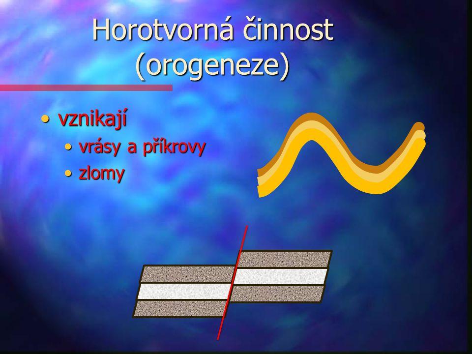 Horotvorná činnost (orogeneze) vznikajívznikají vrásy a příkrovyvrásy a příkrovy zlomyzlomy