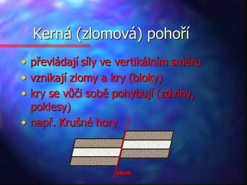 Kerná (zlomová) pohoří převládají síly ve vertikálním směrupřevládají síly ve vertikálním směru vznikají zlomy a kry (bloky)vznikají zlomy a kry (blok