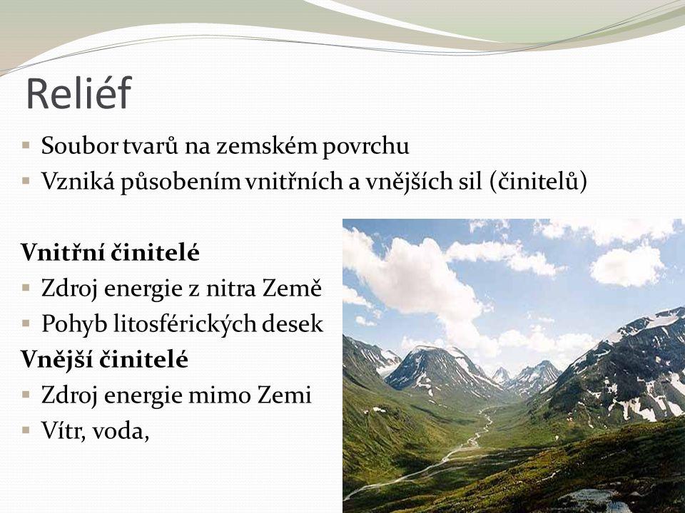 Reliéf  Soubor tvarů na zemském povrchu  Vzniká působením vnitřních a vnějších sil (činitelů) Vnitřní činitelé  Zdroj energie z nitra Země  Pohyb