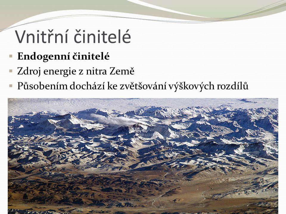 Vnitřní činitelé  Endogenní činitelé  Zdroj energie z nitra Země  Působením dochází ke zvětšování výškových rozdílů