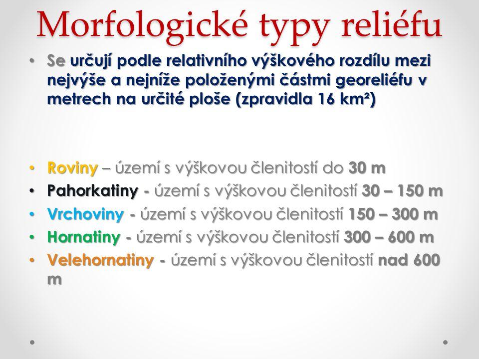 Morfologické typy reliéfu Se určují podle relativního výškového rozdílu mezi nejvýše a nejníže položenými částmi georeliéfu v metrech na určité ploše